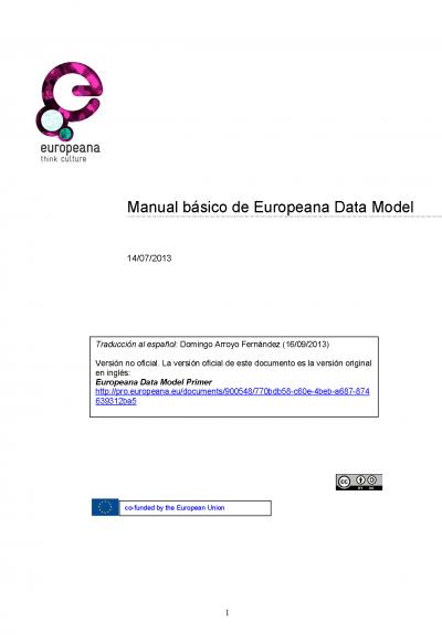 Manual básico de Europeana Data Model (EDM) - Sept. 2013