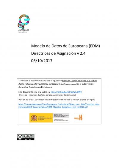 Modelo de datos de Europeana (EDM) directrices de Asignación v. 2.4 - Octubre 2017