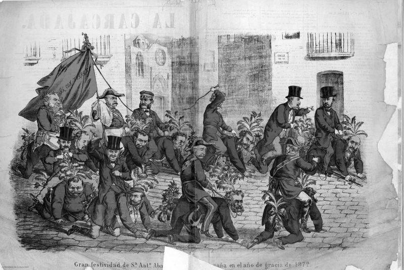 La Carcajada, Año1, nº1, 17 enero 1872. Biblioteca Virtual de Prensa Histórica, dominio público
